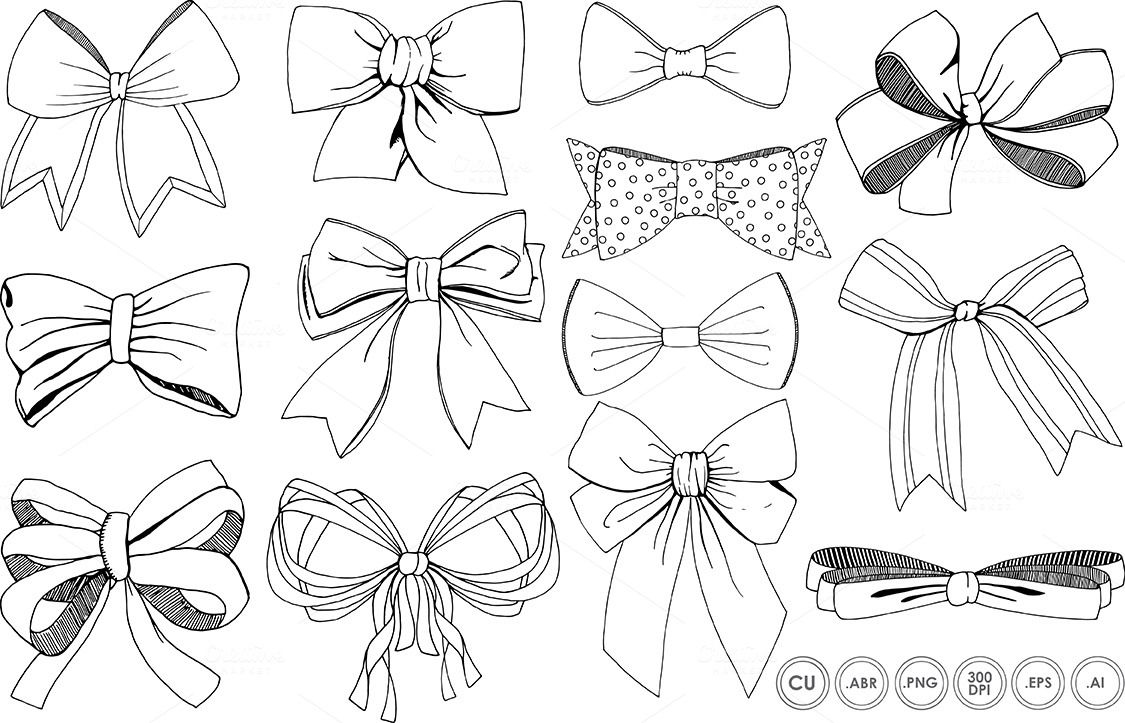 1125x723 Bows Amp Ribbons Line Art + Silhouette By Fishscraps