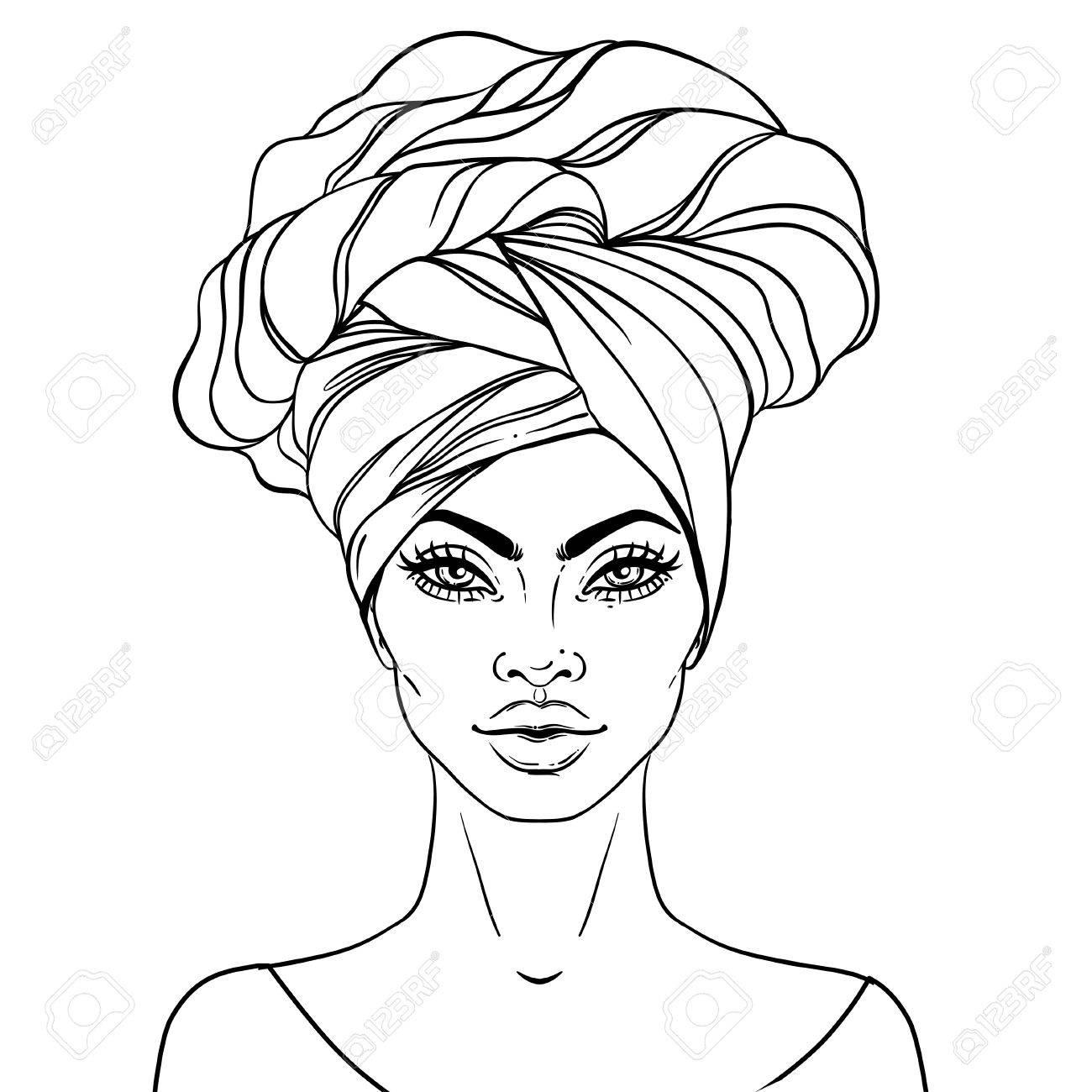 1300x1300 Black Woman Drawing African American Pretty Girl. Vector