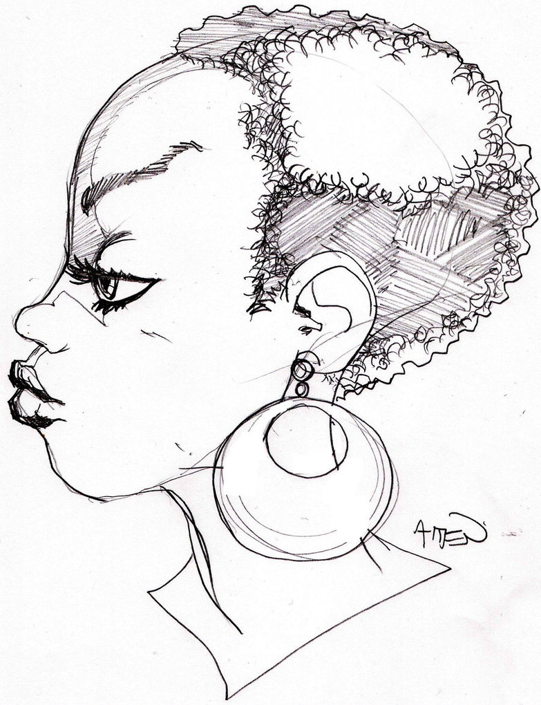 783x1020 Another Girl With An Afro By Samax