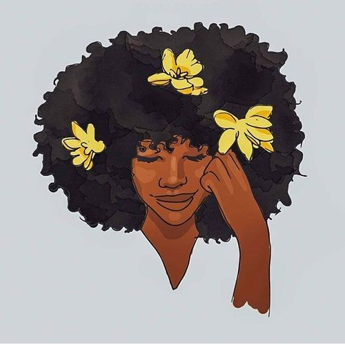 500x500 Afro, Art, And Flowers Image Black Girl Art.! Afro