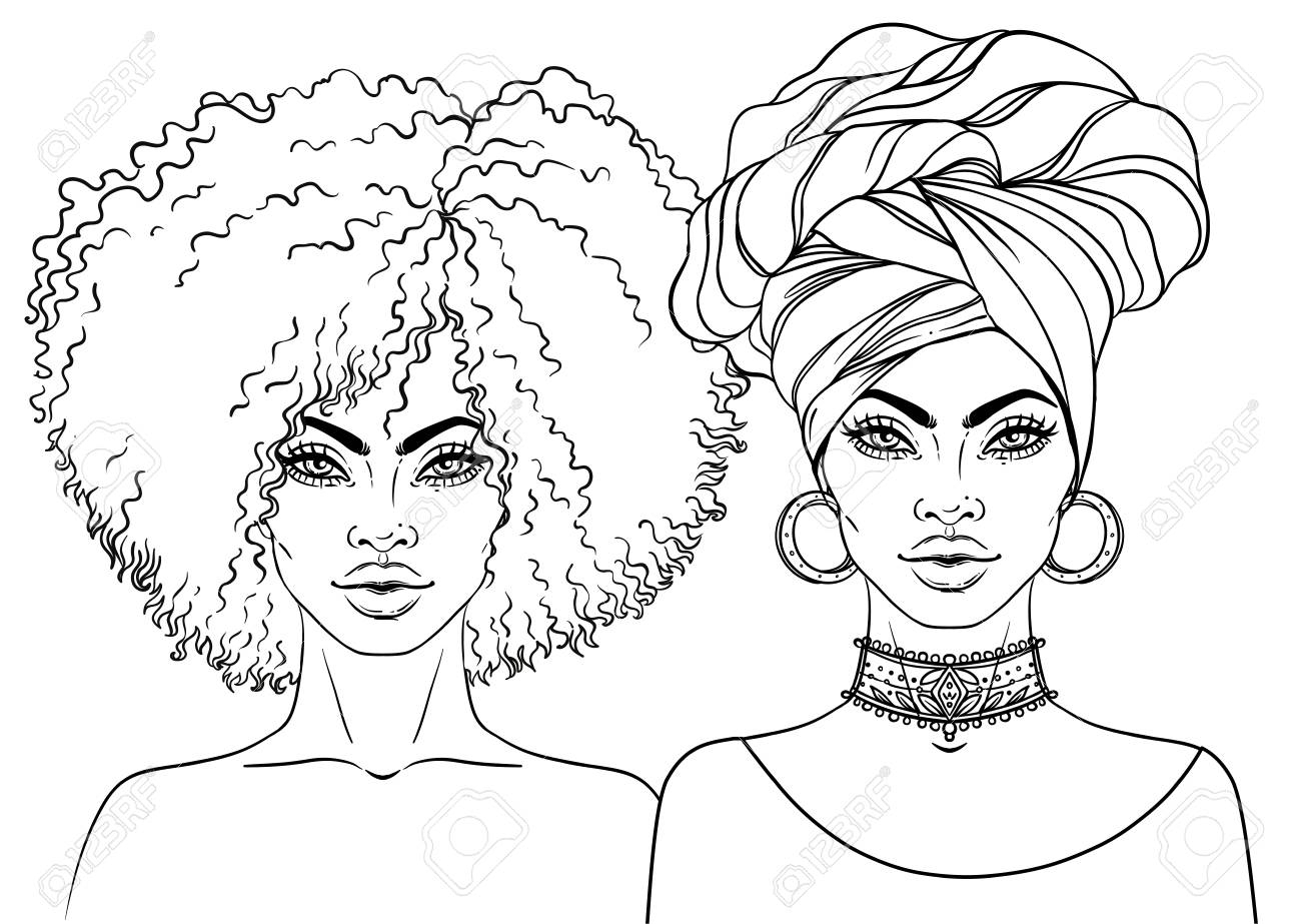 1300x923 Black Woman Drawing African American Pretty Girl. Vector