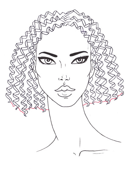 450x555 How To Draw Curly Hair I Draw Fashion