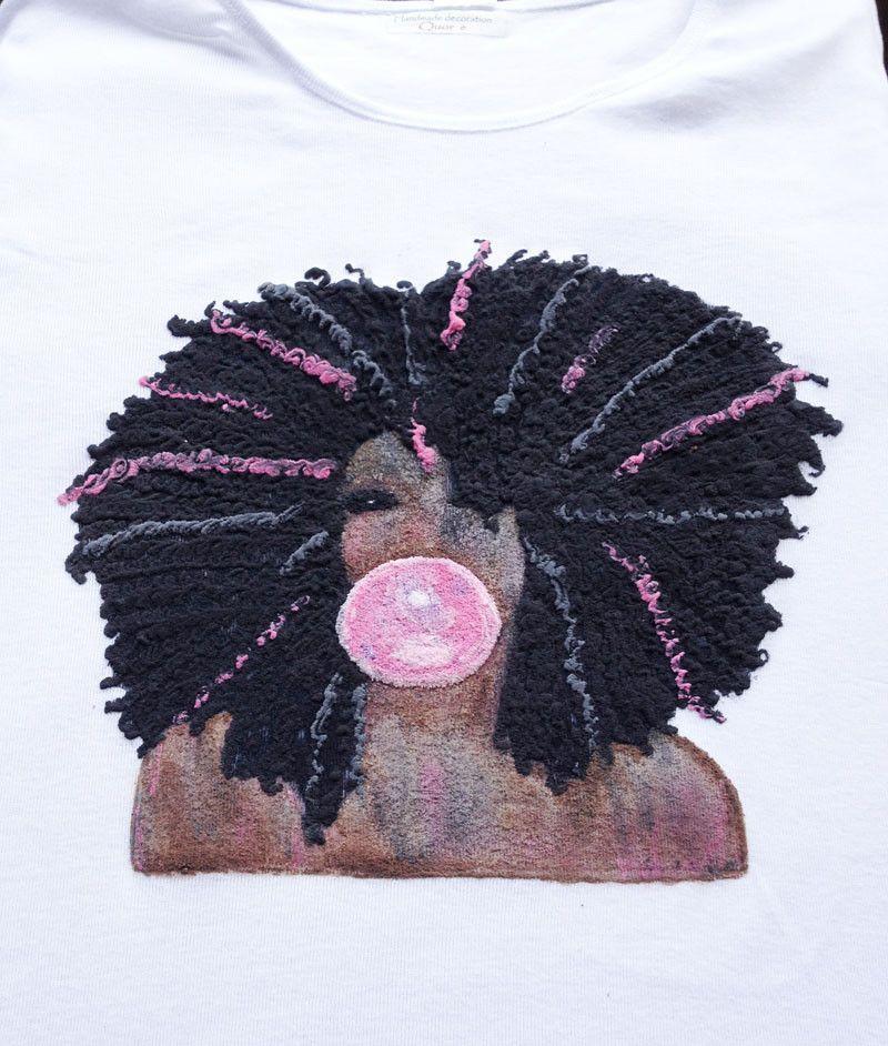 800x942 Black Girl Pink Bubblegum Bubble Painted 3d T Shirt Natural Hair