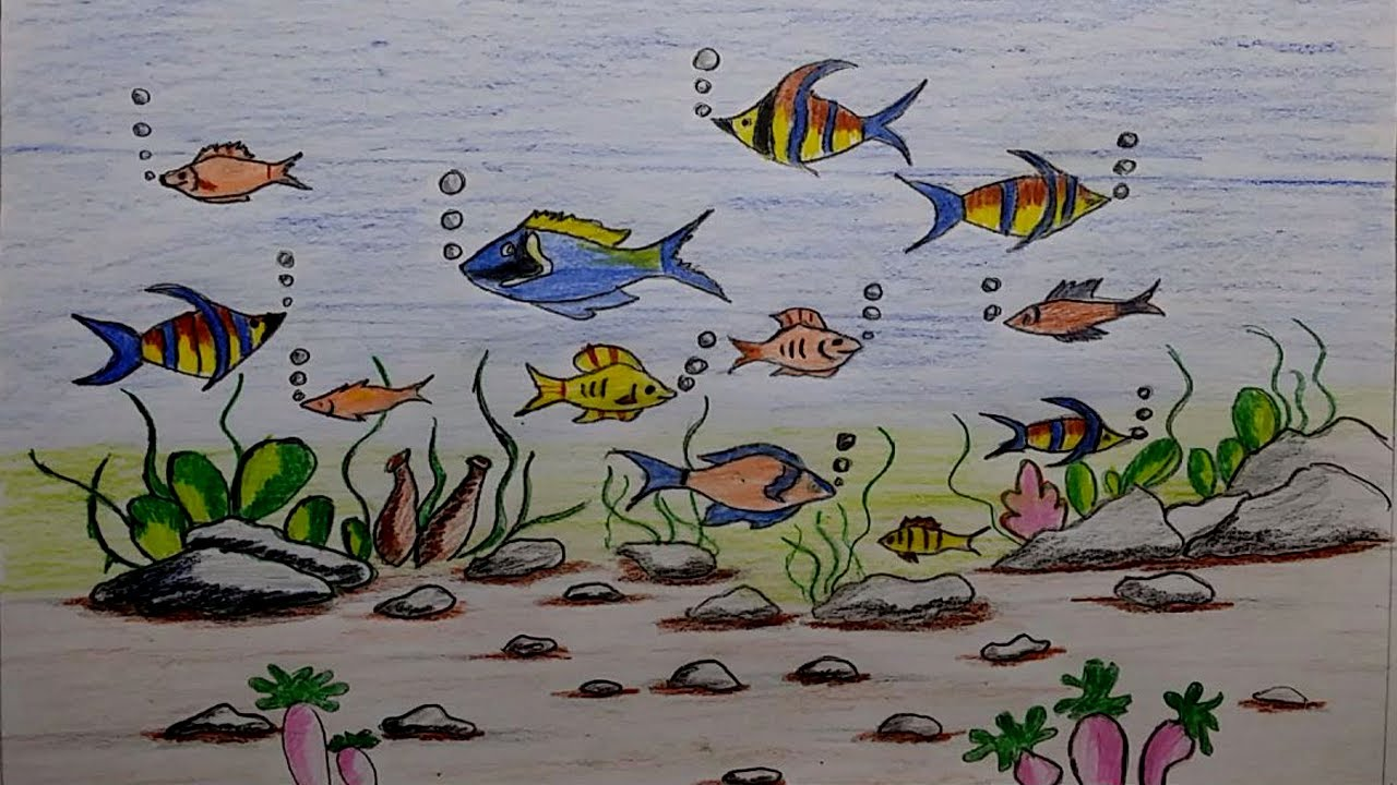 1280x720 Learn How To Draw A Scenery Of Ocean Bottom Sea Bottom Drawing