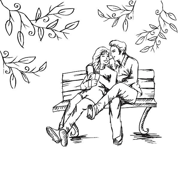 Boy And Girl Sitting On A Bench Drawing