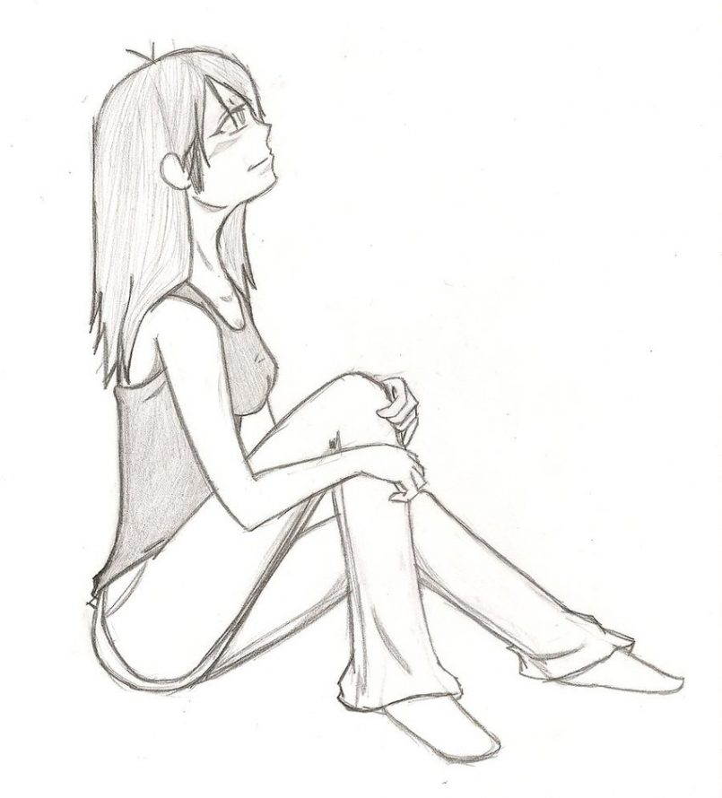 805x890 Drawing How To Draw Someone Sitting Down In A Chair Together