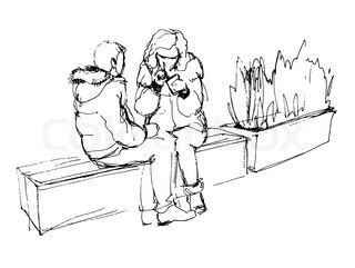 320x241 Eps 10 Vector Illustration Of Woman In Sitting On Park Bench Pose