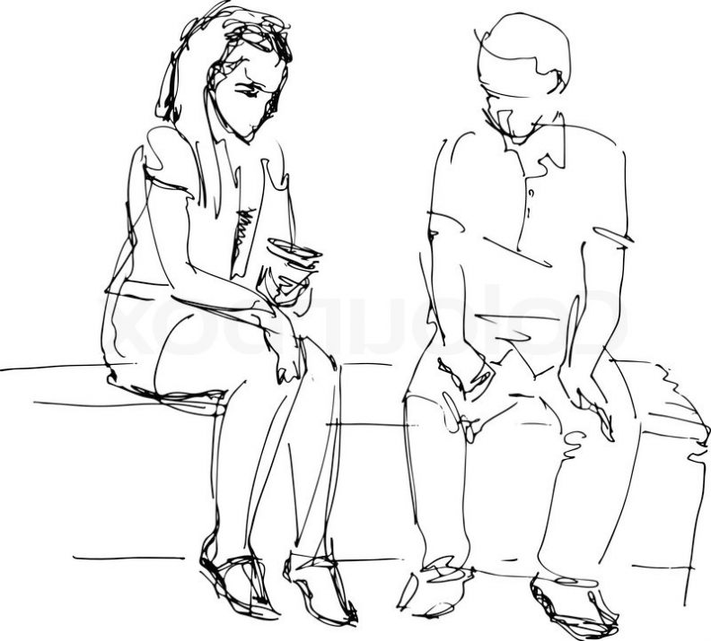 792x715 How To Draw People Sitting On A Bench People Sitting Drawing