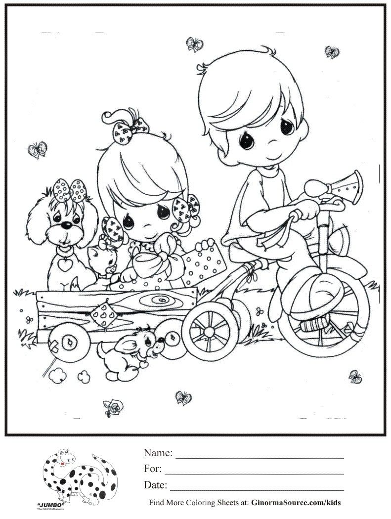 791x1050 Kids Coloring Page Boy Girl Trike Pulling Wagon Coloring Sheet