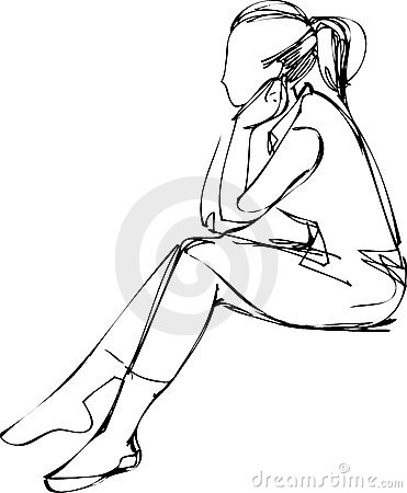 371x450 People Sitting On Bench Drawing. Awesome Back View Of A Woman