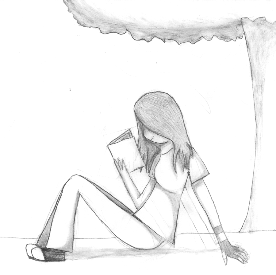 900x895 Collection Of Girl Sitting Under Tree Drawing High Quality