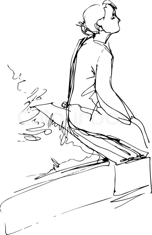 518x800 A Black And White Sketch Of A Girl Sitting On A Park Bench Stock