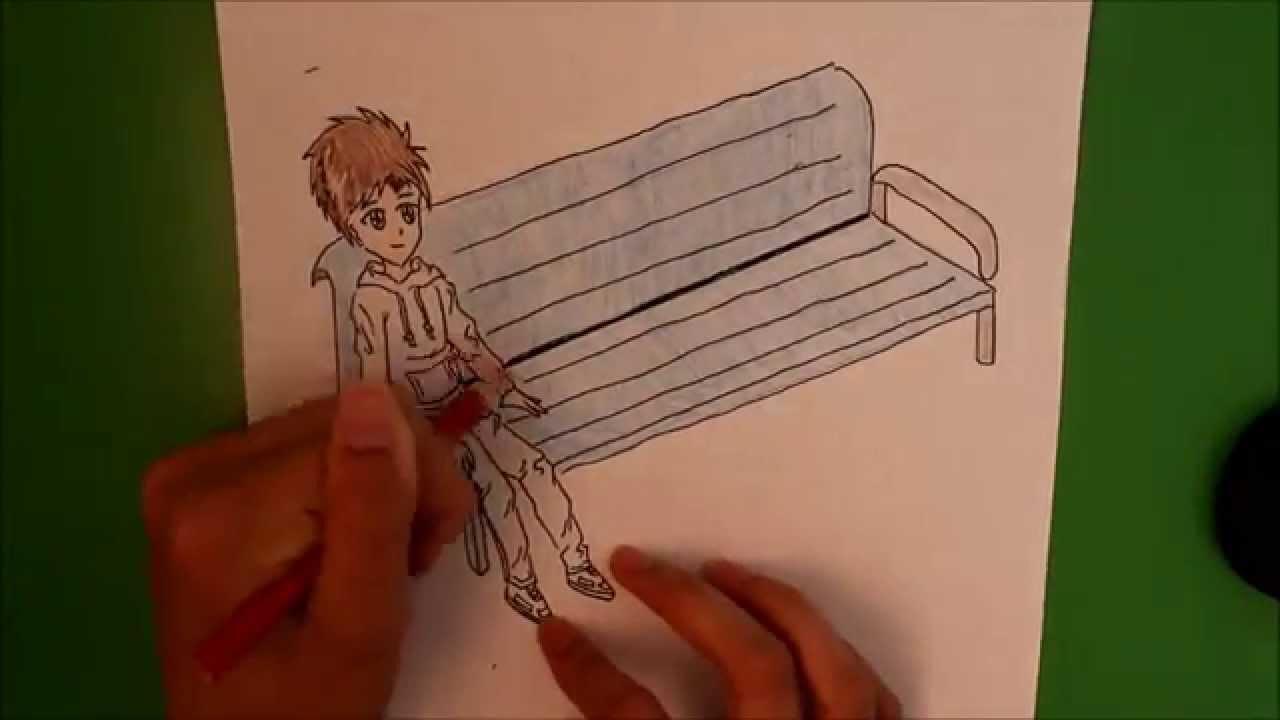 1280x720 How I Draw A Boy Sitting On A Bench