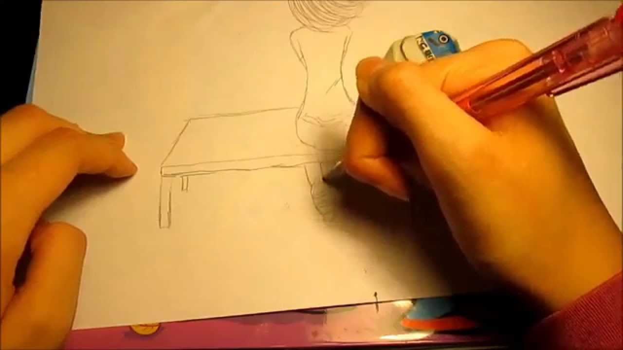 1280x720 How I Draw A Girl Sitting On A Bench