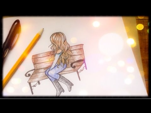 480x360 How To Draw Girl Sitting On A Bench