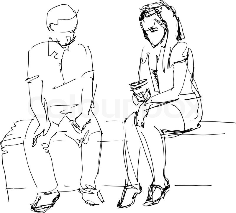 800x722 A Black And White Sketch Of Man And Woman On A Bench B Stock