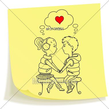 380x380 Sticky Note Drawn Boy Girl Holding Hands Sitting
