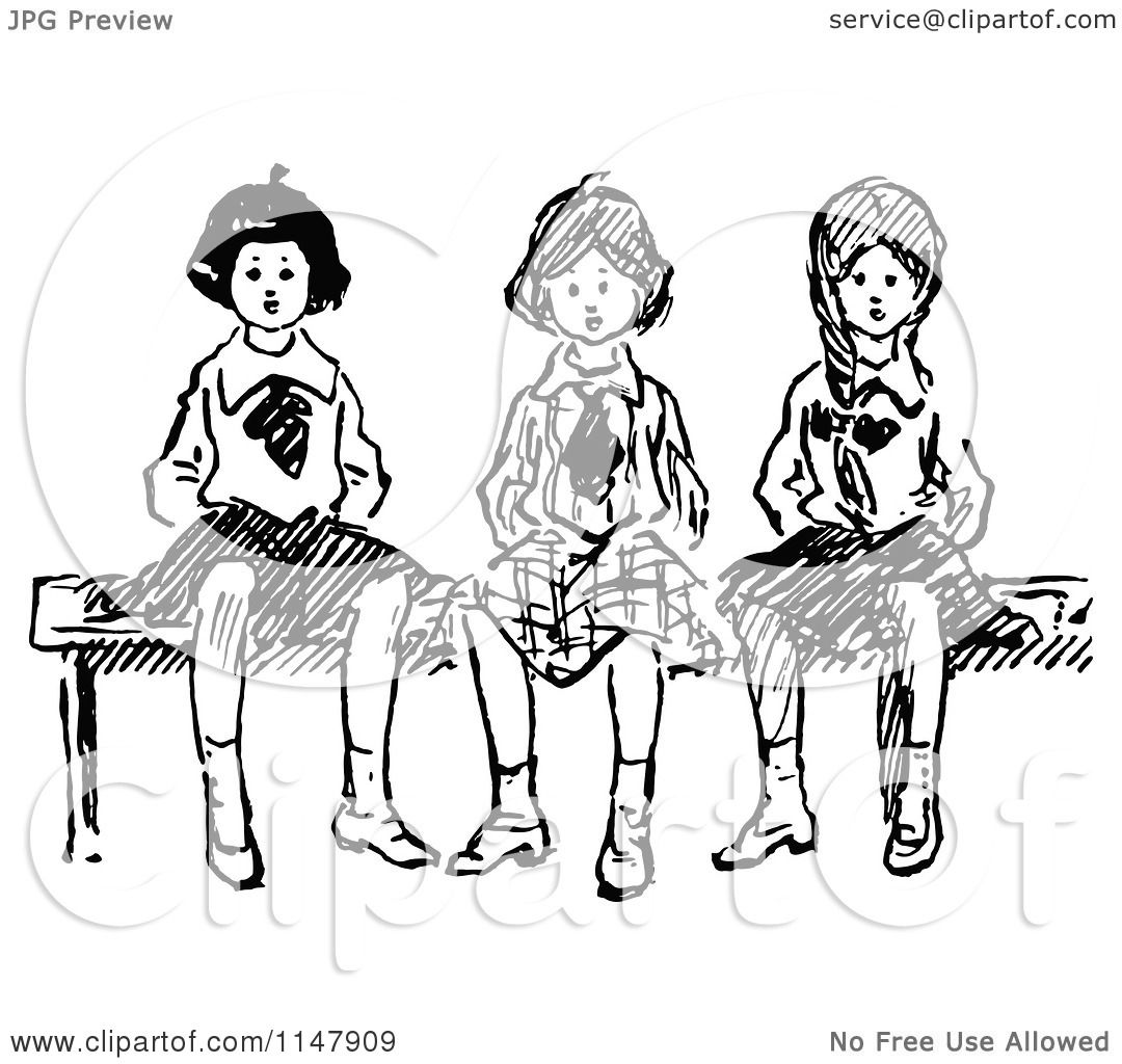 1080x1024 Clipart Of Retro Vintage Black And White Girls Sitting On A Bench