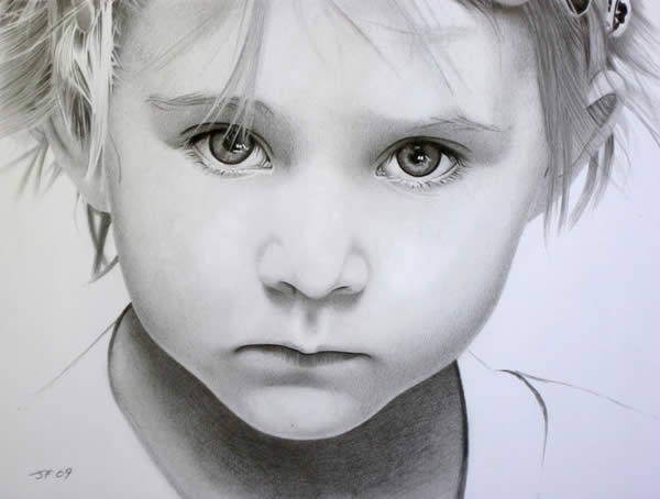 600x454 50 Ultra Realistic Children Portrait Drawings Photoshop