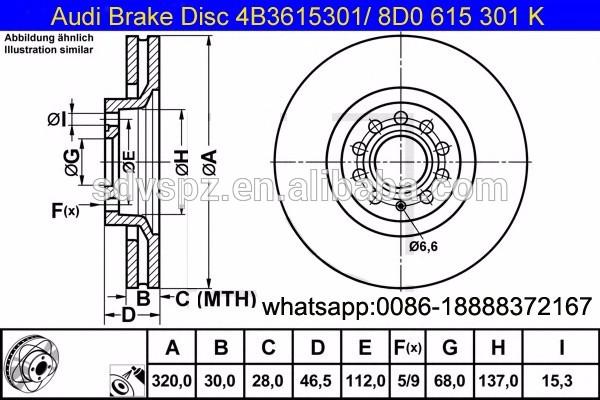 600x400 A6 A4 Allroad Front Brake Discs 320mm 8d0615301k Auto Parts
