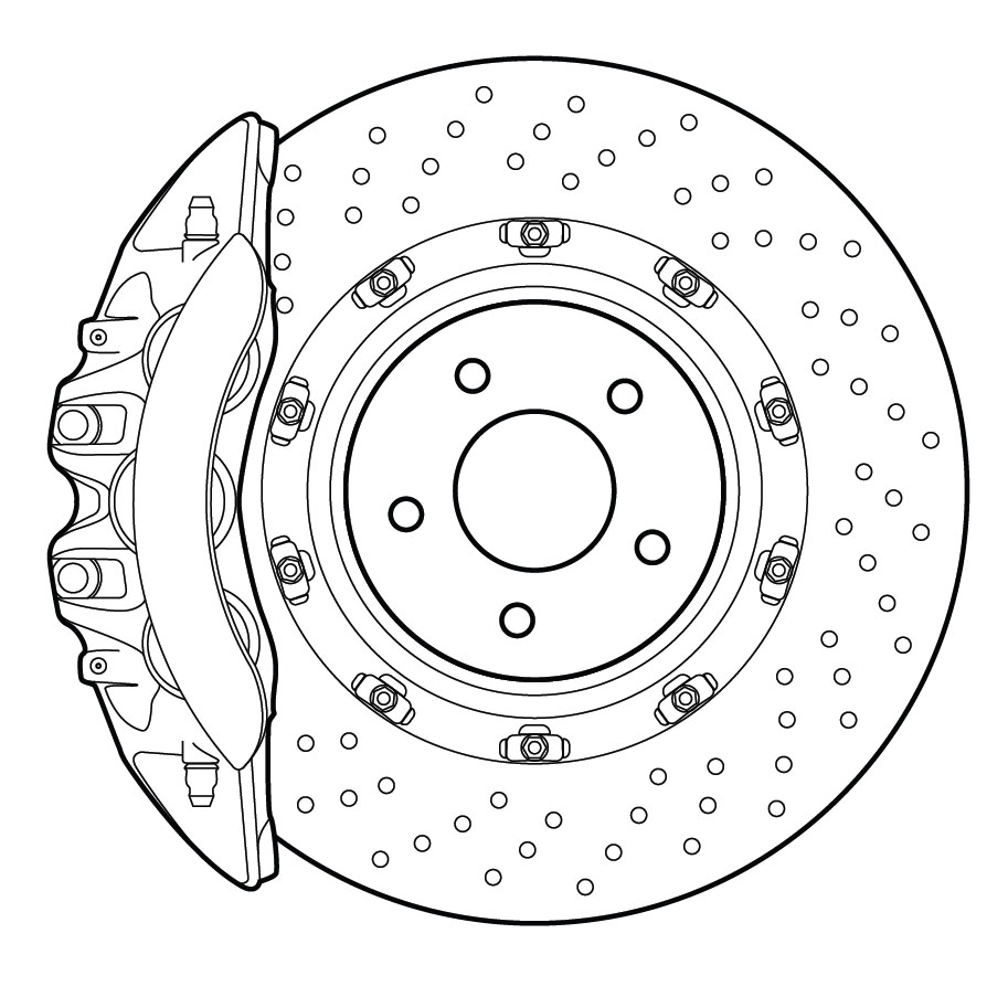 913x903 Detailed Vector Line Drawing Of High Performance Automotive Disc