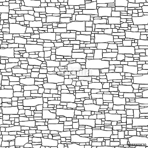 500x500 Seamless Wall From Stones Of Different Sizes (Drawn With Ink