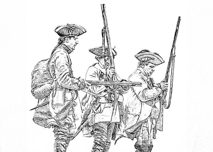 700x500 French And Indian War British Soldiers Sketch Greeting Card