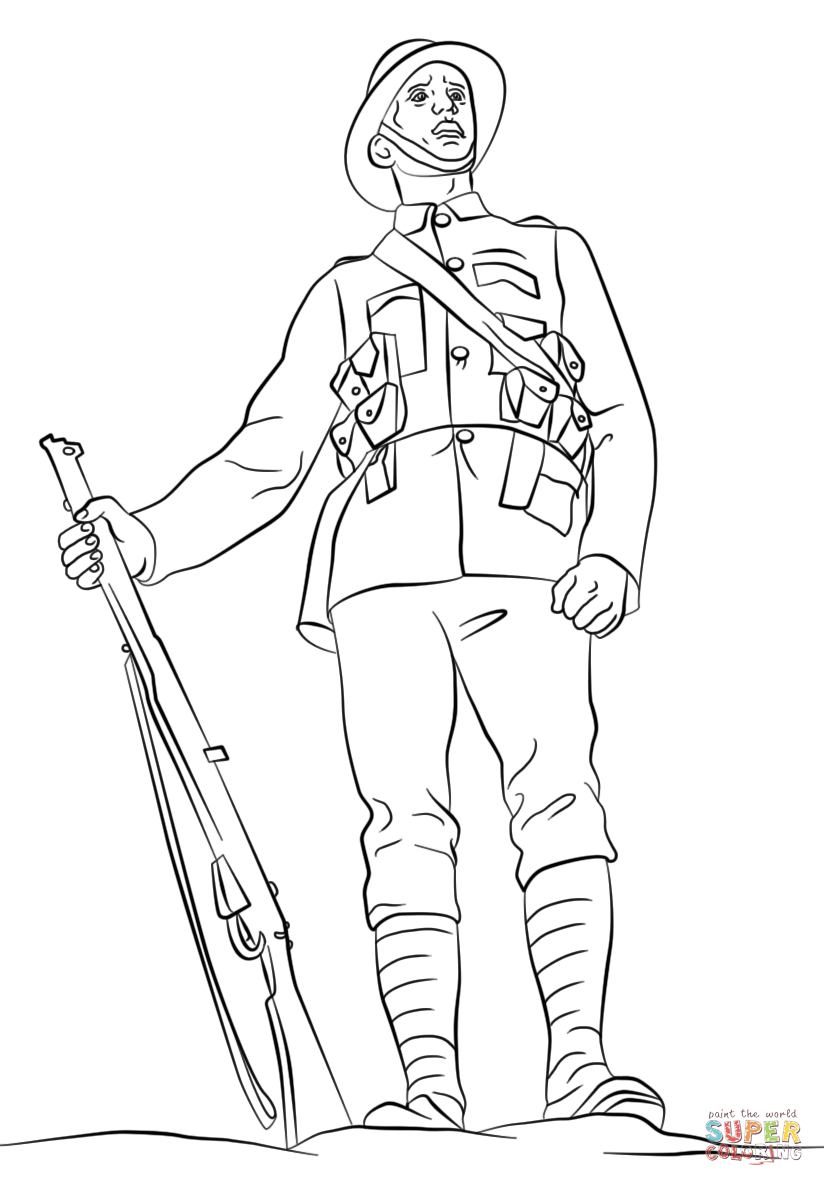824x1186 How To Draw Army Soldiers Wwi British Soldier Coloring Page Free