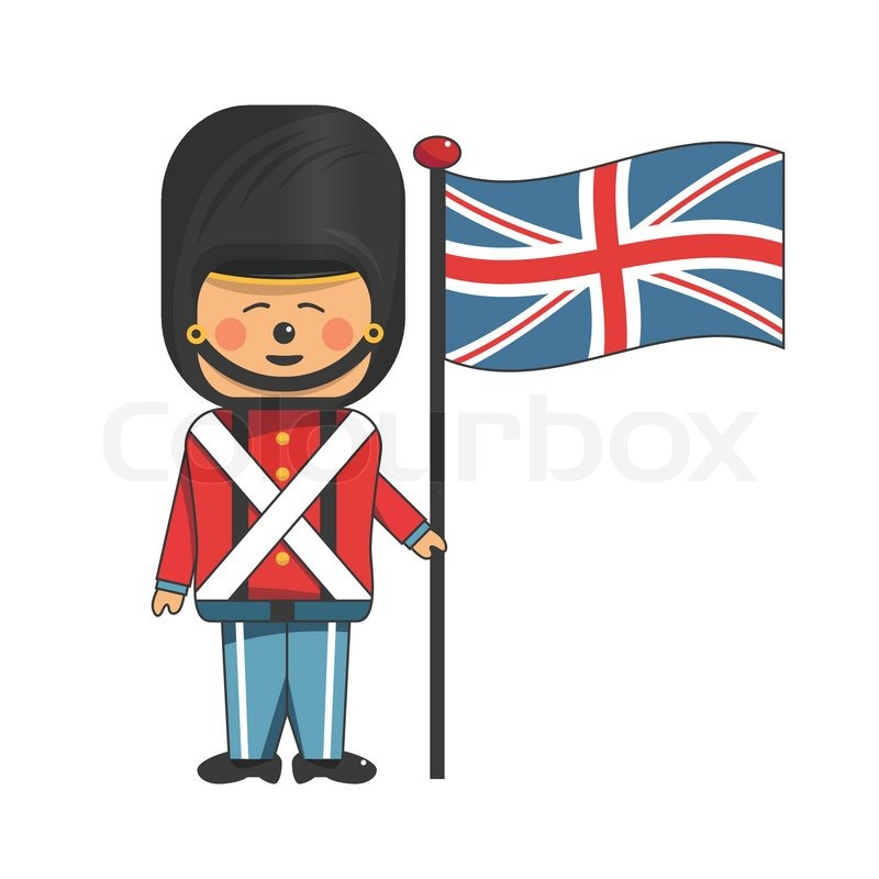 800x800 Happy Soldier In Red Uniform Holding The British Flag Stock