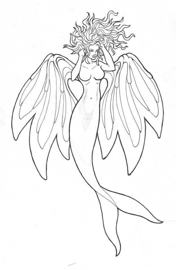 578x886 Mermaid Tattoo Lineart By Broken Toy