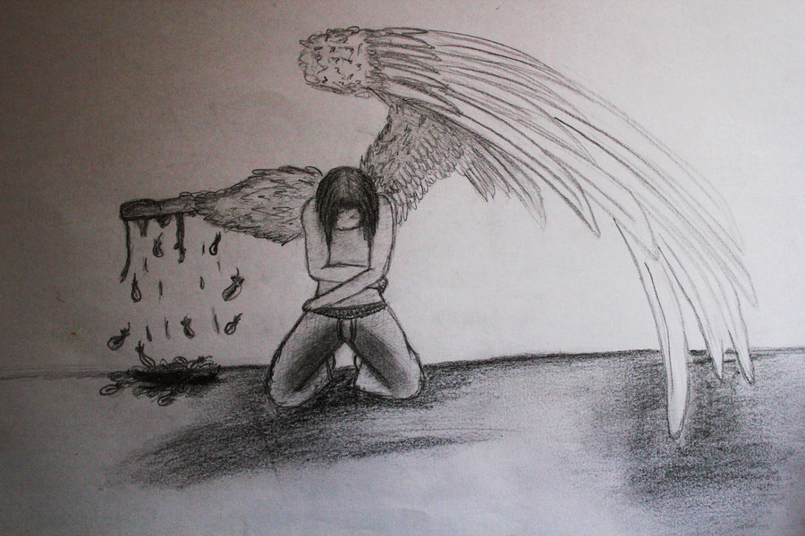 900x600 Collection Of Angel With Broken Wings Drawing High Quality