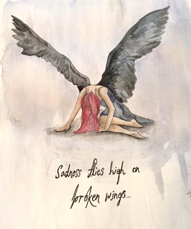 802x960 Sadness Flies High On Broken Wings Drawing. Fallen Angel, Broken