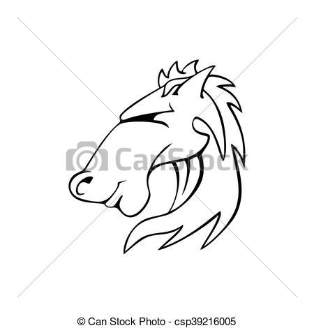450x470 Horse Bronco Head Vector Logo Out Line Vector Clipart