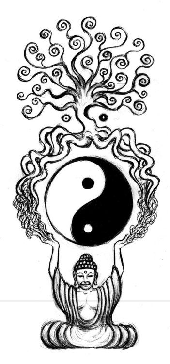 351x750 Im Thinking This Is An Awesome Tattoo. Buddha, Ying Yang, Tree