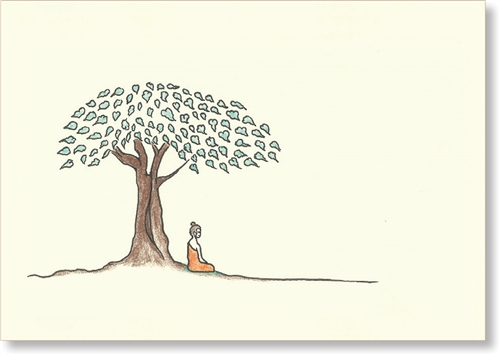 500x355 Buddha Sideview, Under Bodhi Tree