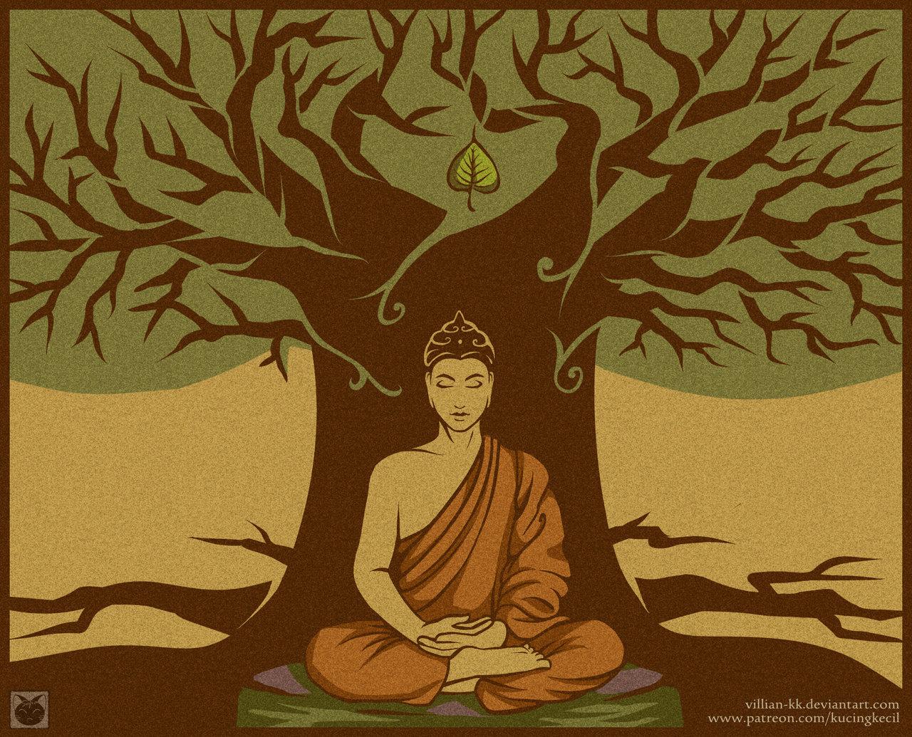 1280x1035 Buddha Under The Bodhi Tree By Villian Kucingkecil