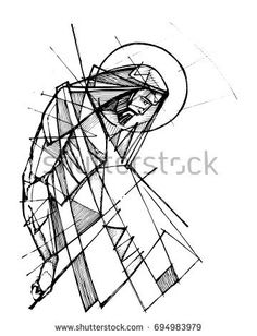 236x308 Hand Drawn Illustration Or Drawing Of Jesus Christ Praying