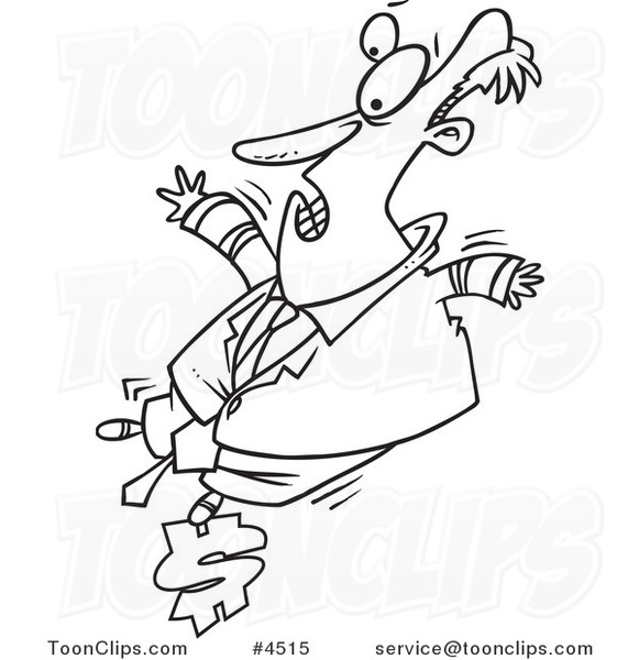 581x600 Cartoon Black And White Line Drawing Of A Business Man Balancing