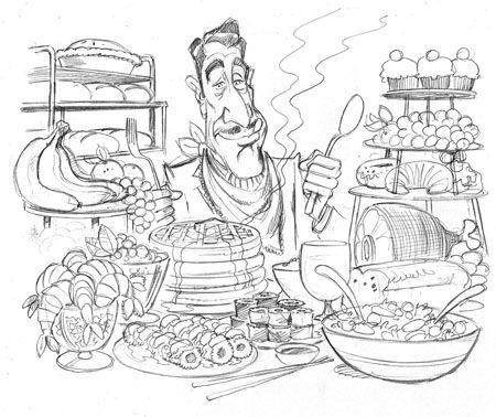 450x378 Buffet Sketch Drawingscartooning Throwback
