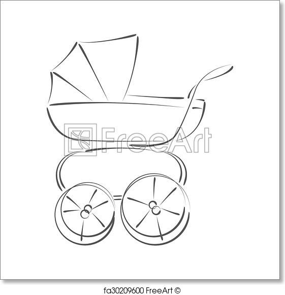 561x581 Free Art Print Of Sketched Baby Stroller Buggy. Sketched Baby