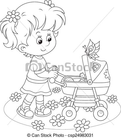 414x470 Girl With A Toy Baby Buggy. Little Girl Walking With Her Toy