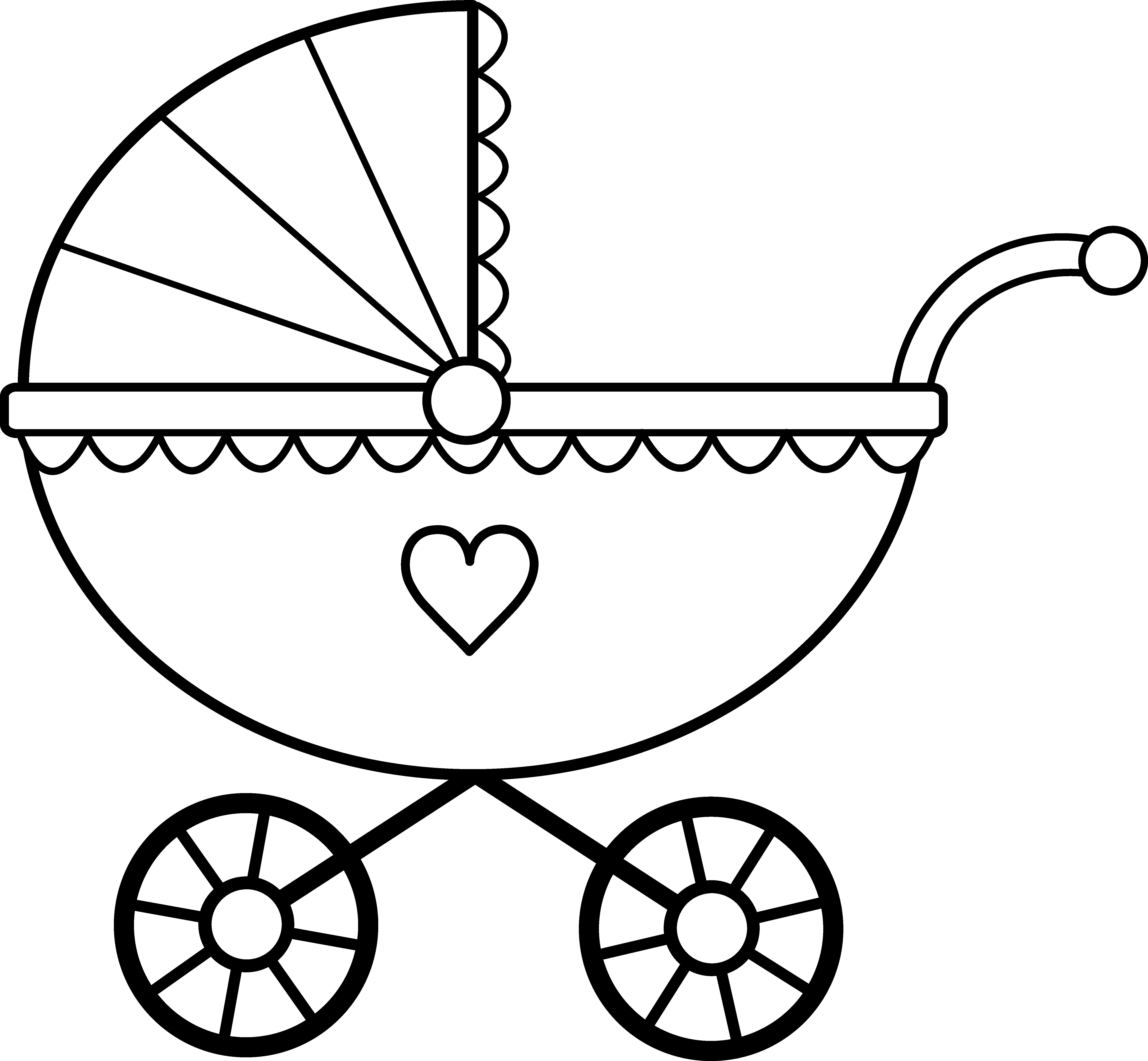5928x5481 Baby Carriage Line Art