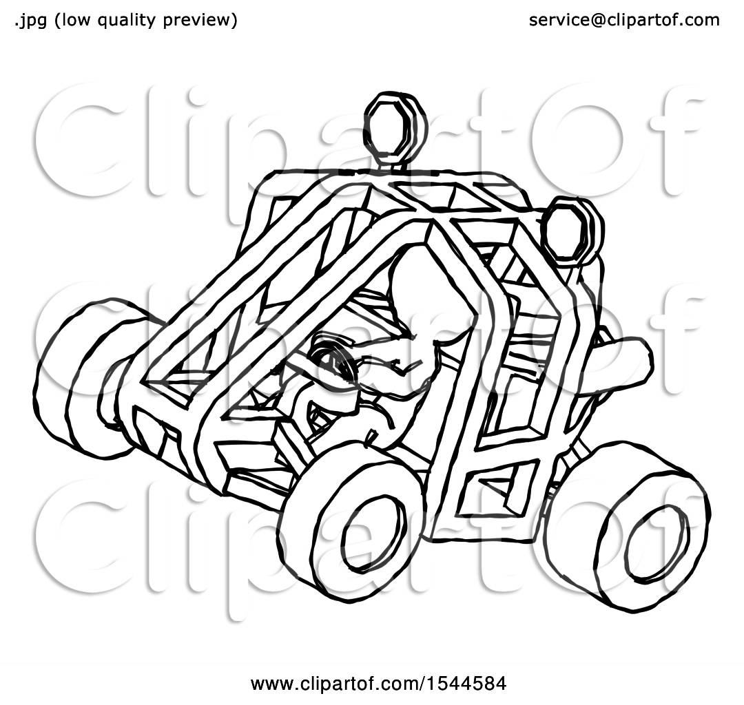 1080x1024 Sketch Design Mascot Man Riding Sports Buggy Side Top Angle View