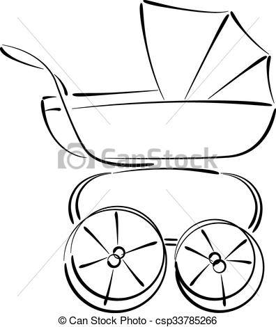 396x470 Sketched Baby Stroller Buggy Isolated On White Background . Clip