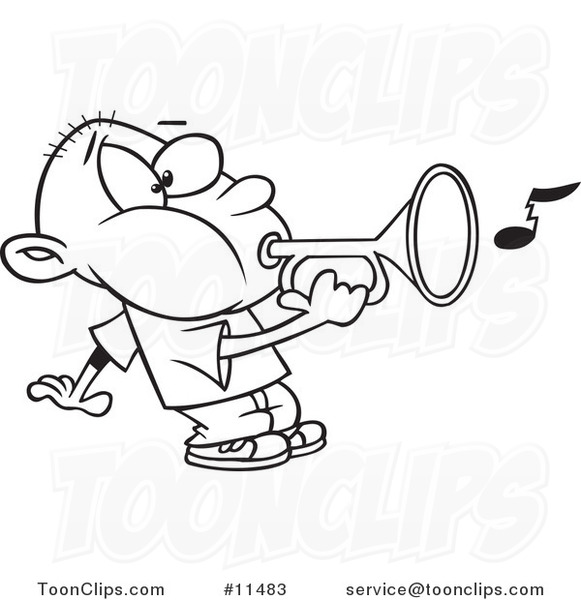 581x600 Cartoon Line Drawing Of A Boy Playing A Bugle