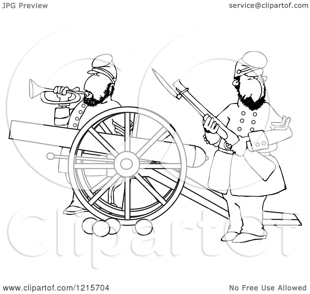 1080x1024 Clipart Of Outlined Civil War Soldiers Holding A Rifle And Playing