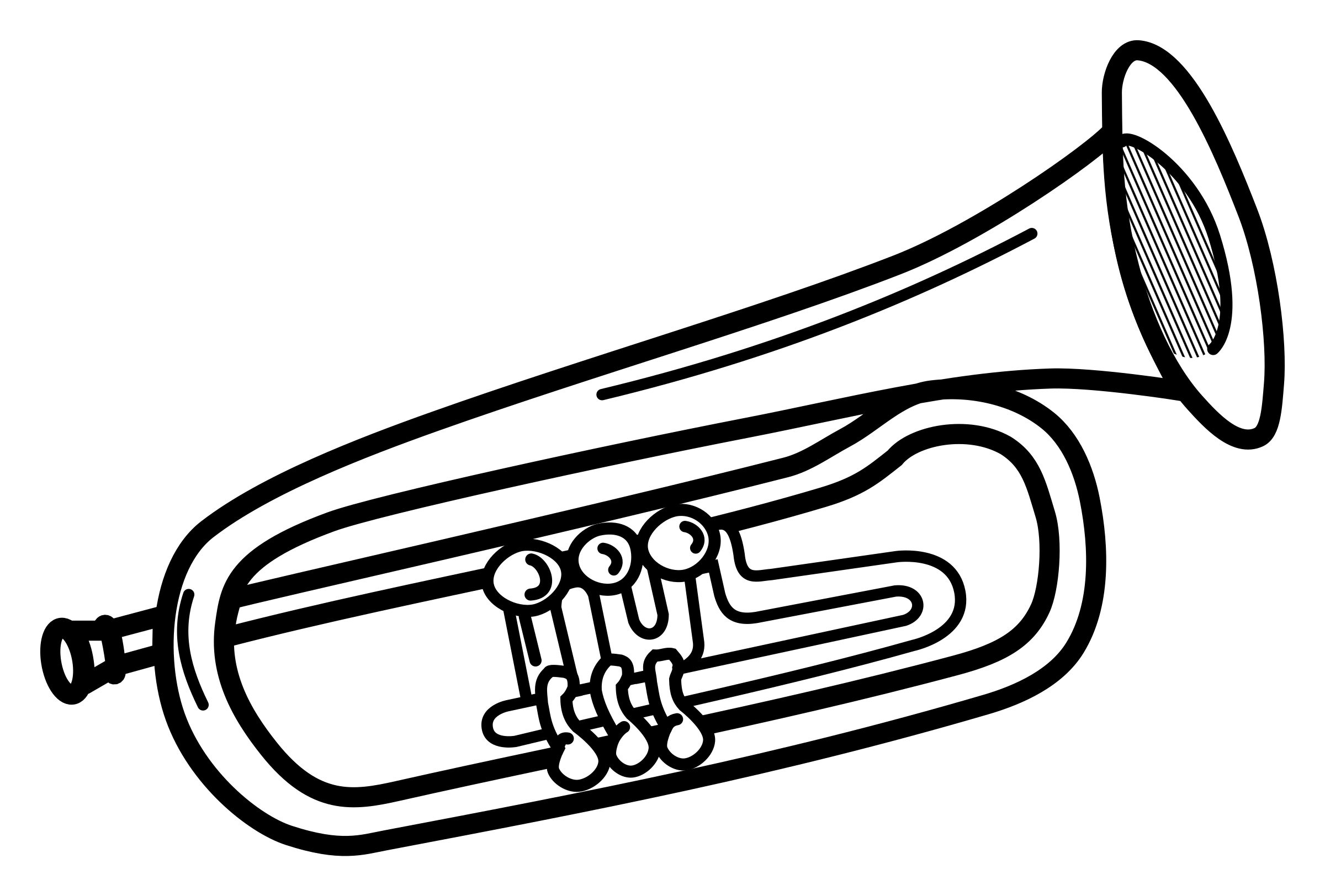 2400x1624 Collection Of Trumpet Instrument Drawing High Quality, Free