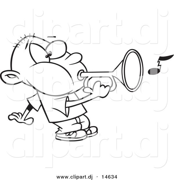 600x620 Vector Clipart Of A Cartoon Boy Playing A Bugle