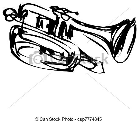 450x403 A Sketch Of Copper Cornet Musical Instrument.
