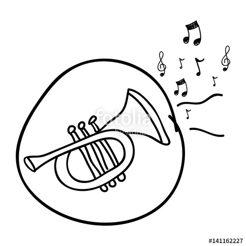 500x500 Monochrome Hand Drawing Of Trumpet In Circle And Musical Notes